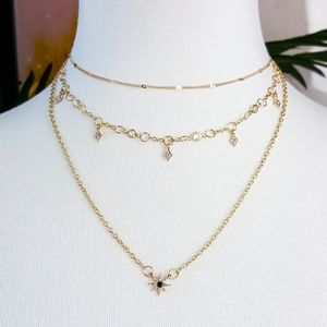 Jewelry - Gold Stacked 3 Tier Choker Star Necklace